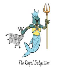 """The Royal Babysitter is one of the characters to find in """"Mermaid Island"""", one of the search-and-find jigsaw puzzles I'm offering on Kickstarter. The image first appeared in my book """"Where's the Mermaid?"""". Follow the link for more info.  #searchandfind #jigsawpuzzle #jigsaw #puzzle #childrensbook #kidlit #wheresthe #seekandfind #cartoon #cartoonart #seekandfind   #mermaid #island #beach #paradise #animals #gorilla #zebra #merman #merfolk #tropical #trident #net #warrior #guard #babysitter"""
