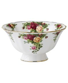 Royal Albert Old Country Roses Anniversary Footed Bowl. This Old Country Roses decorated with Old Country Roses' signature motif of burgundy, pink and yellow roses, accented with lustrous gold banding -- makes a perfect gift. Crystal Stemware, Waterford Crystal, Rose Centerpieces, China Patterns, Royal Doulton, Beautiful Gifts, Royal Albert, Vintage China, Fine China