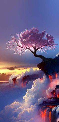 New fantasy landscape art nature scenery Ideas Beautiful Nature Wallpaper, Beautiful Landscapes, Beautiful Paintings Of Nature, Nature Paintings, Galaxy Wallpaper, Wallpaper Backgrounds, Wallpaper Samsung, Mobile Wallpaper, Black Wallpaper