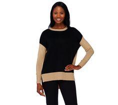 A269227 Susan Graver Plush Knit Long Sleeve Color-Block Sweater