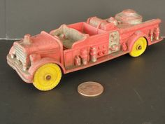 Vintage Made in USA Auburn Rubber Fire Truck AFD by marketsquareus