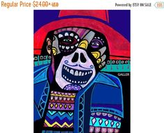 Marked Down 50% - Day of the Dead art Poster Print of painting by Heather Galler Tattoo Sugar Skulls Skeleton Mexican Folk Art (HG358)