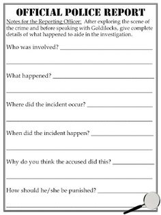 """FREE Download!  """"Official Police Report"""" Activity to Assess Common Core Standard 2.RL.1 using Goldilocks and the Three Bears"""
