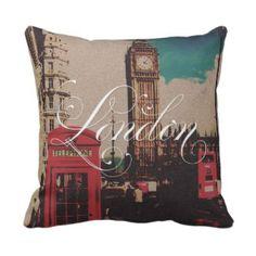 London Landmark Vintage Photo Pillow