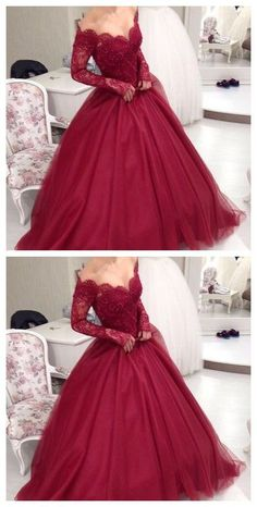 Charming Prom Dress,Long Prom Dress,Gowns Long Sleeve Tulle Evening Dress,Women Dress