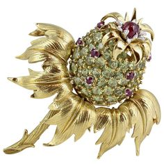 Tiffany Schlumberger Peridot and Ruby Thistle brooch