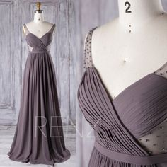 2016 Grayish Brown Bridesmaid Dress with Beading, Pleated Bodice Sweetheart Wedding Dress, Long Maxi Dress, A Line Prom Dress Full (J076)