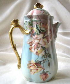 Wm Guerin Limoges France Porcelain Chocolate Pot