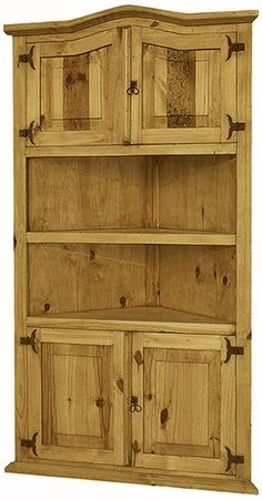This unique rustic bookcase can be used in that odd corner. The upper and lower cabinets give it symmetry, and the rustic southwest style complements any decor. Corner Hutch, Corner Cupboard, Kitchen Corner, Corner Shelves, Corner Cabinets, Corner Storage, Kitchen Cabinets, Pine Bookcase, Rustic Bookcase