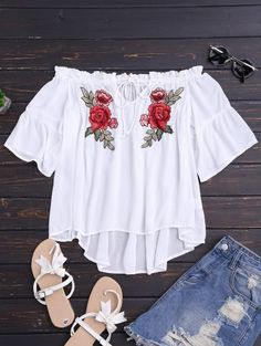 SHARE & Get it FREE | Floral Embroidered Off Shoulder Top - White SFor Fashion Lovers only:80,000+ Items • New Arrivals Daily Join Zaful: Get YOUR $50 NOW!
