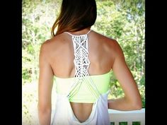 Macramé racerback from tshirt. This is the YouTube video showing how to do this macramé