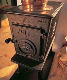 Jotul F 602 wood burning stove. Close up view of this classic wood burner.