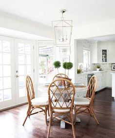 Bamboo Dining Chairs, Dining Room Chairs, Dining Rooms, Wicker Table, Arm Chairs, Kitchen Chairs, Dining Tables, Dining Area, Best White Paint