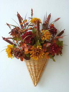 Fall Thanksgiving wall basket silk