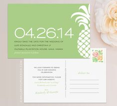 Tropical Pineapple Hawaiian Personalized Wedding Save the Date Postcard / Magnet / Flat Card - CUSTOMIZE Colors and Content