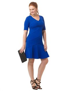 Elbow Sleeve Dress In Sea Blue by @londontimes 10/12 and 14W-24W