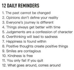 12 Daily Reminders