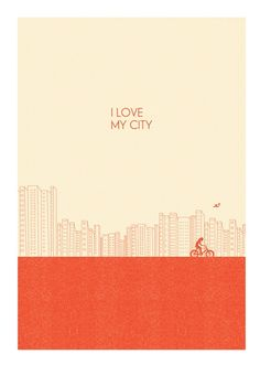 I ordered this print off Etsy and was amazed how quickly it came all the way from Spain! This print is me to a T -- a girl biking through the city she loves. Plus, they put a bird on it. Poster Prints, Art Prints, Posters, Graphic Design Inspiration, Letterpress, Cover Design, Graphic Illustration, Typography, My Love
