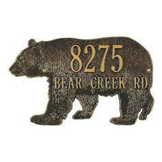 The Whitehall Bear Silhouette Standard Wall Plaque might be the only time it's actually OK to poke the bear. This plaque is made of durable. Black Bear Decor, Poke The Bear, Fish Silhouette, Whitehall Products, Address Plaque, Big Bear, Color Lines, Special Characters