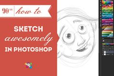 Master sketching in Photoshop with this easy, informative and, yes, just a little bit awesome tutorial. #90Tips #digitalsketching #photoshop
