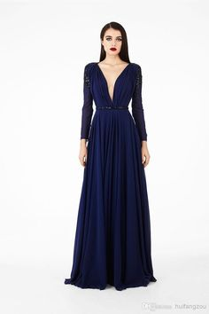 Wholesale Lace Prom Dress - Buy 2014 Georges Hobeika Navy Evening Gowns/Prom Dresses Vintage Sheer V-Neck Chiffon Lace Illusion Back Beaded Sequins Long Sleeve Custom Made, $133.93 | DHgate