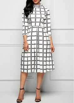 White High Waist Three Quarter Sleeve Printed Dress on sale only US$33.00 now, buy cheap White High Waist Three Quarter Sleeve Printed Dress at liligal.com