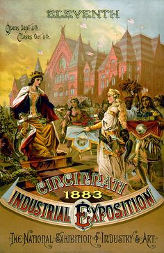 """Eleventh Cincinnati Industrial Exposition, 1883  Eleventh Cincinnati Industrial Exposition, 1883. The National Exhibition of Industry and Art, opens Sept. 5th, closes Oct. 6th. Female figure of """"Justice"""" judging products presented by various states: Ohio as blonde woman with model of combine; Georgia as African American boy holding textiles; Indiana as Native American woman holding locomotive model; Kentucky as African American man holding tobacco. Exposition building in background…"""