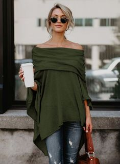 The tee is featuring off the shoulder, long sleeve, irregular hemline, solid color and loose fit.