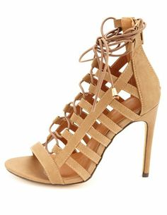 Qupid Strappy Caged Heels: Charlotte Russecharlotterusse