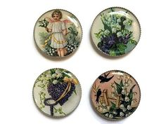 Lily of the valley magnets, angel magnet, flower magnets, bird magnets, vintage magnets, victorian magnets