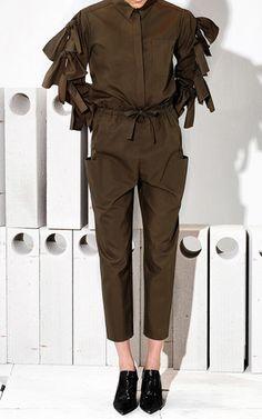 Khaki Tie Front Trousers by MAISON RABIH KAYROUZ for Preorder on Moda Operandi