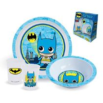 Make your kid want to come to the dinner table with this awesome dining set! This Batman Plate, Bowl, and Cup 3-Piece Kids Set features a fun and stylized version of Batman on each the cup, plate, and bowl.
