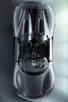 ♂ Silver Car Porsche 918 Spyder bird's view