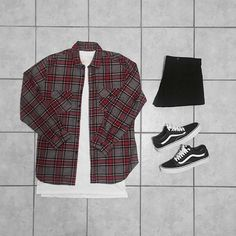WEBSTA @ dot_zee - First Grid Back | #outfitgrid______________________________________________________#FOG Flannel and Extended Teen #Topman Denim#Vans Sneakers