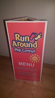 Menus I made for Runaround in Chester, Wrexham & Darwen.