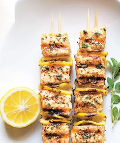 Here is an awesome Spiced Salmon Kebabs!! | epicurious.com. These were so simple! And they were light and tasty. Nothing Amazing but very good. Amber