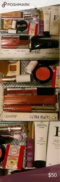 HUGE Beauty Box! Almia Pure Foundation in Dream- retail $42 -Pilaten Blackhead remover $10 -Manna Kadar Liplocked Stain $24 -Yazine Tender Lip Balm $12 -Tarte Energy Noir LipSurgence $14 -Missglam shadow brush. -Model Co blush in Peach Bellini $6 -Rimmel Lip Balm in Clear $6 -Then Balm Bronzer -Colourpop Matte lippie in Solow $10 -Dr. Brite facial cleanser sample -Tresque lip crayon -Jan 2017 Ipsy Bag.   Tags: ipsy, birchbox, FabFitFun, natural, Organic, vegan, cruelty free, plant based…