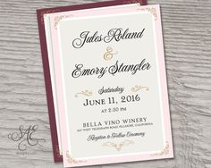 Blush Pink Purple Wedding Invitations Invites by SAEdesignstudio