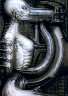 Dark, erotic, organic, beautiful, machines, hive, technology. Just a few words that come to mind when reviewing H.R. Giger. The Alien franchise wouldn't be what it is without his vision. He 13 May 2014. RIP.