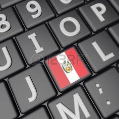 bandera de Perú sobre la tecla en el teclado, 3d, imagen cuadrada photo