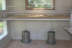 Chicken Coop - Roosting bar with tray underneath. Hang feeder and water under