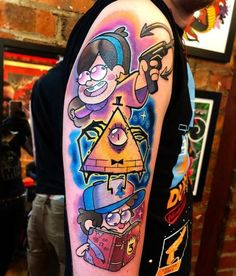 Start my gravity falls sleeve. Done by chris hill in white dragon tattoo, belfast, N Ireland : tattoos Cartoon Character Tattoos, Cartoon Tattoos, Body Art Tattoos, Sleeve Tattoos, Cool Tattoos, Tatoos, Future Tattoos, Tattoos For Guys, Tatuaje Rick And Morty