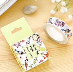 Spring Colorful Birds and Flowers Washi Tape by PlayingWithColor2