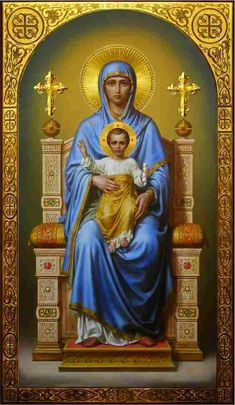 Theotokos on the throne, academic icon Religious Images, Religious Icons, Religious Art, Jesus Christ Images, Jesus Art, Blessed Mother Mary, Blessed Virgin Mary, Virgin Mary Art, Religion