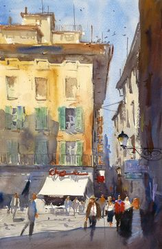 """""""Via Fillungo"""" (a street in Lucca) watercolor by Ron Stocke. Come join the painting vacation of a lifetime as you travel to Italy and seek out the best sites to paint in Lucca, Italy. With a day trip to Pisa built in, this week long workshop promises to give you memories, and paintings to last a lifetime. May 20th-24th, 2013. Details of the workshop can be found on our website."""