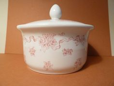 Dish w/lid, Ribbons Pattern, Laura Ashley Exclusive, Made in England by…