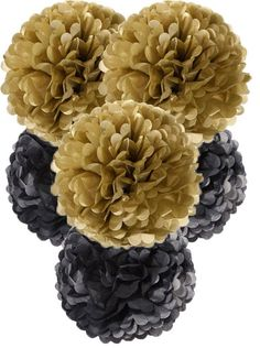 Large black & gold pom poms - perfect for a New Year's Eve party