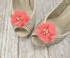Coral Shoe Clips - Bridal Shoe Clips for Wedding Shoes - Summer Shoe Accessories