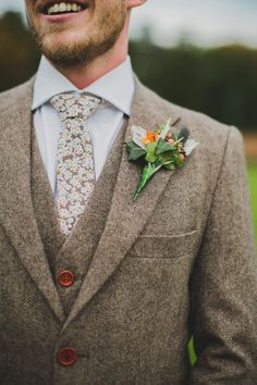 Brown Wool Suit | Broughton Hall Utopia | Charlotte Emily Videography | Nicola Denby Photography | http://www.rockmywedding.co.uk/jessica-oliver/