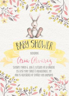 Floral Water Color Baby Shower Invitation by JuneArborDesigns @juneArbordesigns www.etsy.com/shop/junearbordesigns